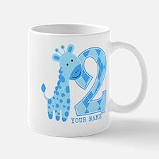 2nd Birthday Blue Giraffe Personalized Mug