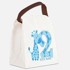 2nd Birthday Blue Giraffe Personalized Canvas Lunc