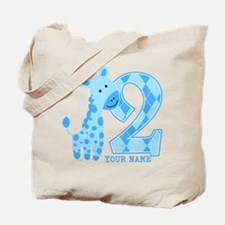 2nd Birthday Blue Giraffe Personalized Tote Bag