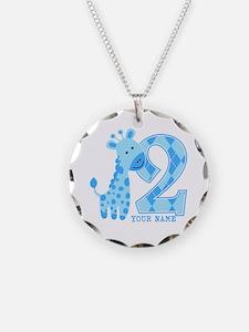2nd Birthday Blue Giraffe Personalized Necklace