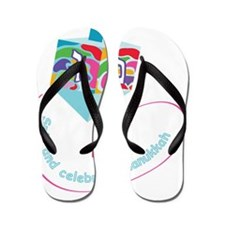 dreidel with color spots for black back Flip Flops