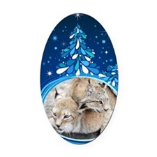 Christmas Card - Tobia and Duchess Oval Car Magnet