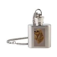 American Cocker 2 Jewel Flask Necklace