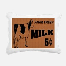 cow on wooden sign note  Rectangular Canvas Pillow