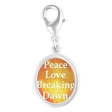 Breaking dawn peace love long Silver Oval Charm