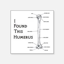 "I found this humerus Square Sticker 3"" x 3"""
