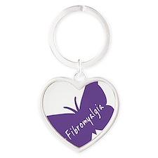 Fibromyalgia Awareness Butterfly Heart Keychain