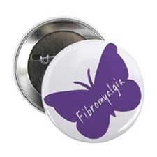 "Fibromyalgia Awareness Butterfly 2.25"" Button"