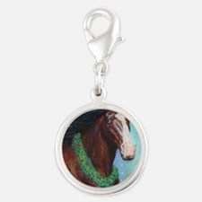Jingle Bell Horse Silver Round Charm
