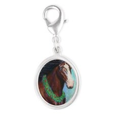 Jingle Bell Horse Silver Oval Charm