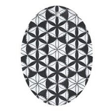 Fl_of_Lf_BW_nook_sleeve Oval Ornament