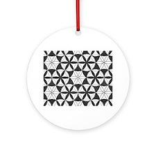Fl_of_Lf_BW_puzzle_horiz Round Ornament