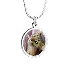 cat portrait Silver Round Necklace