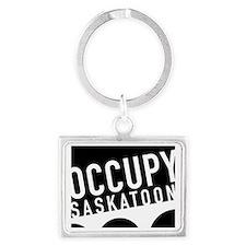 occupy saskatoon black Landscape Keychain