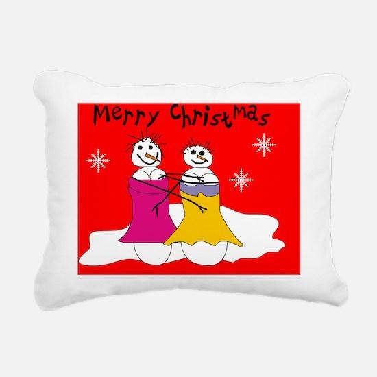 lesbian snowmen cards 2  Rectangular Canvas Pillow