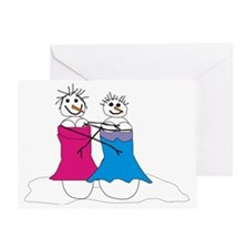 Lesbian snowmen Greeting Card