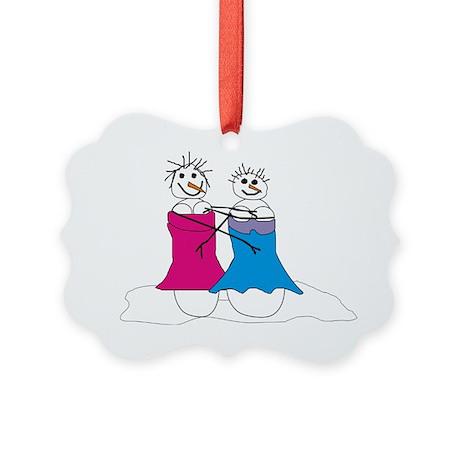 Lesbian snowmen Picture Ornament
