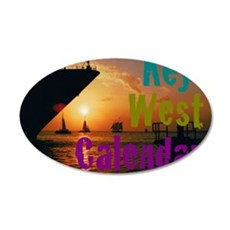 11.5x9at255SunsetShipKWC 35x21 Oval Wall Decal