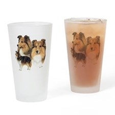 Sheltie Multi Drinking Glass
