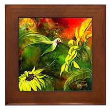 HummingBird with Sunflowers Framed Tile