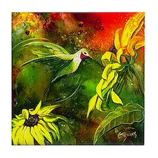 HummingBird with Sunflowers Tile Coaster
