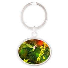 HummingBird with Sunflowers Oval Keychain