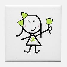 Girl & Lime Ribbon Tile Coaster