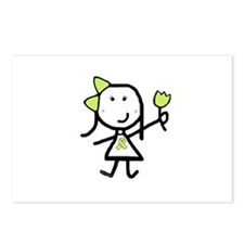 Girl & Lime Ribbon Postcards (Package of 8)