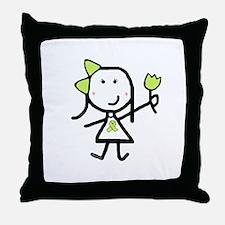 Girl & Lime Ribbon Throw Pillow