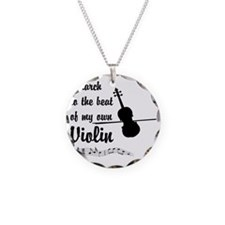 MarchViolin Necklace Circle Charm