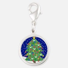 Christmas Let It Snow Decorati Silver Round Charm