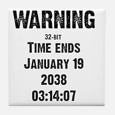 time-ends-1-blackLetters copy Tile Coaster
