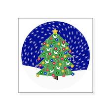 "Christmas Tree, Snow Button Square Sticker 3"" x 3"""