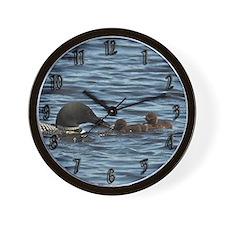 Loon Feeding Twins Wall Clock
