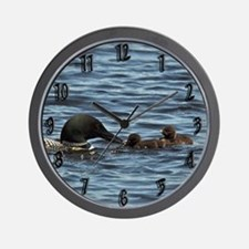 Loon Feeding Twins Wall Clock