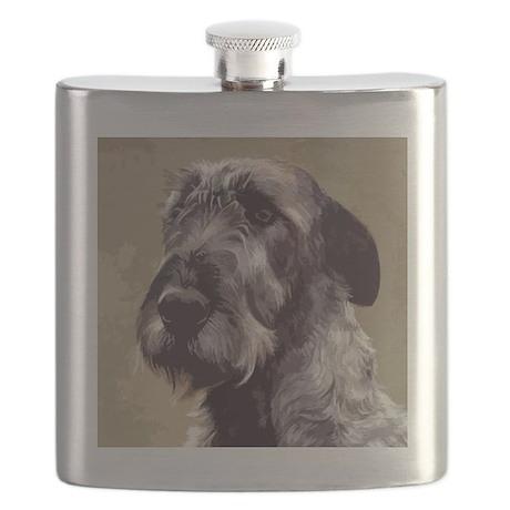 IrishWolfhoundCutOutHead Flask