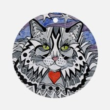 cat-gray-tabby-heart-stars-4-5.25 Round Ornament