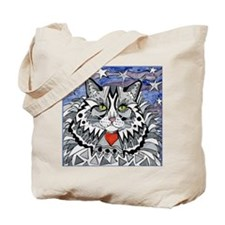 cat-gray-tabby-heart-stars-4-5.25 Tote Bag
