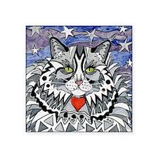 "cat-gray-tabby-heart-stars- Square Sticker 3"" x 3"""