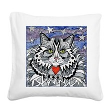cat-gray-tabby-heart-stars-4- Square Canvas Pillow