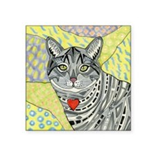 "cat-gray-tabby-heart-colors Square Sticker 3"" x 3"""