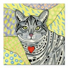 "cat-gray-tabby-heart-col Square Car Magnet 3"" x 3"""