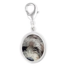 WolfhoundFace14x10_print Silver Oval Charm