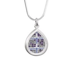 Jackpot Bingo Cards shir Silver Teardrop Necklace
