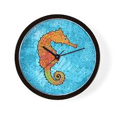 seahorseOrangeSquare Wall Clock