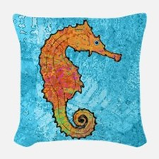seahorseOrangeSquare Woven Throw Pillow