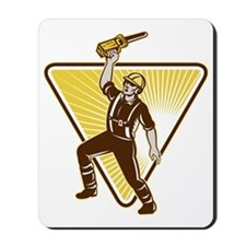 Tree Trimmer Arborist Holding Up Chainsa Mousepad