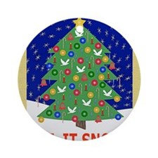 Christmas Let It Snow Note Card Round Ornament
