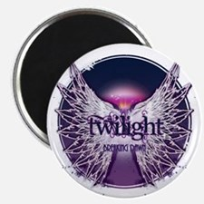 breaking dawn with wings and horizon purple Magnet