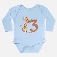 3rd Birthday Pink Giraffe Personalized Long Sleeve